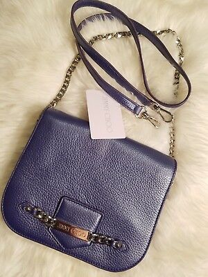bc8901e441 Jimmy Choo Shadow Metallic Violet Leather Crossbody Shoulder Bag Silver  Chain