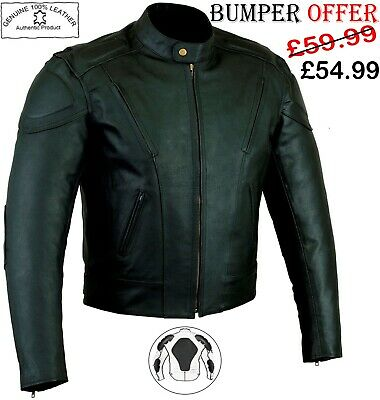 Mens Black High Quality Ce Armour Motorbike Motorcycle Winter Leather Jacket
