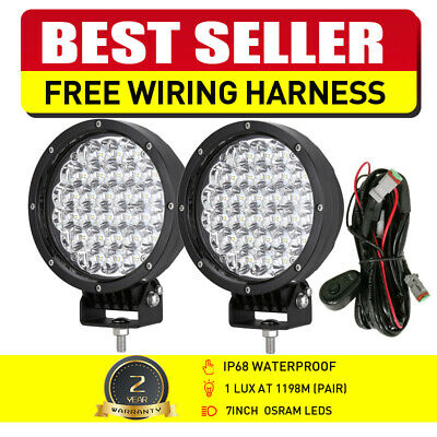 2x 7inch 98000W CREE LED Driving Lights Round Work Spotlights Offroad Truck ATV