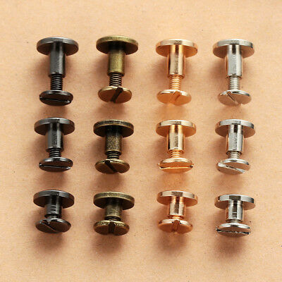 3Size/ Flat Belt Screw Leather Craft Chicago Nail Brass Solid Rivet Stud Head