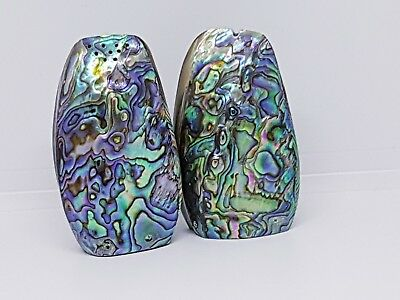 Vintage Paua shell salt and pepper shakers. Paua shell home kitchen decor Boho