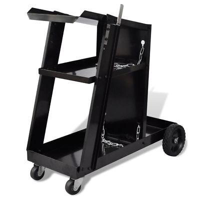 Welding Cart Black Trolley with 3 Shelves Workshop Organiser U6E0