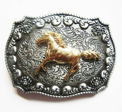 Silver & Gold Colour Horse Rectangle Belt Buckle Cowboy Cowgirl Rodeo Western