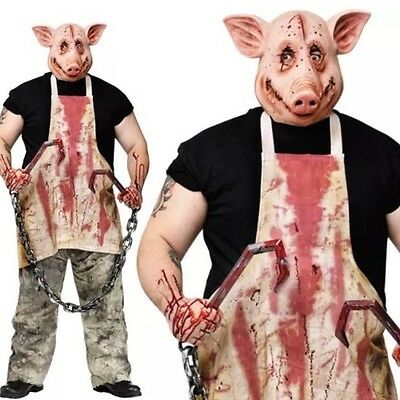 Women's Harlequin Halloween Fancy Dress Outfit & Saw Pig Outfit For Men!