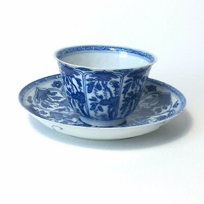 Antique 17th C Chinese blue and white Porcelain cup and saucer