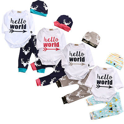 3PCS Baby Girl Boy Hello World Long Sleeve Tops Romper+Deer Pants Outfits Sets