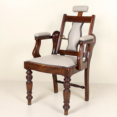 Antique Barbers Chairs Carved Mahogany Adjustable Armchair