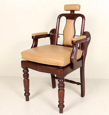 Antique Barbers Chairs Carved Mahogany Adjustable Armchair Tan