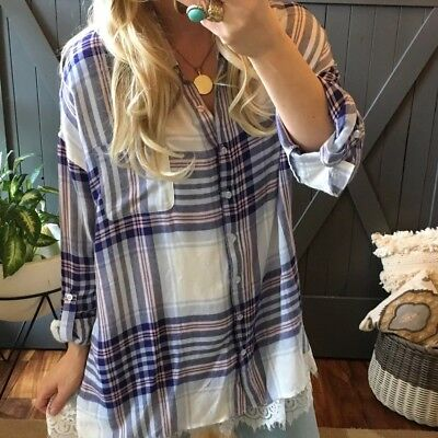 34c6d5e599d 2X New Boutique Plus Size Plaid Blue Long Sleeve Button Up Blouse Top  Womens 26W