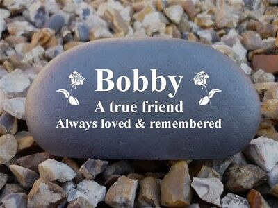 Memorial Pebble (Stone effect) Personalised - Weatherproof - Medium - Rose