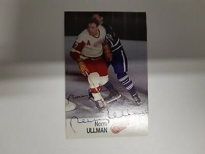1988 Norm Ullman Hand Signed Esso Nhl All-Star Collection Sticker Card