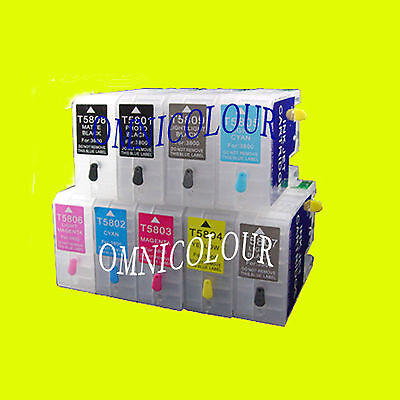 9 non-OEM empty compatible refillable auto reset ink cartridge for Epson SC P800