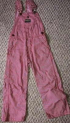 Vintage Oshkosh Bgosh Vestbak Toddler Boys 5 Red White Striped Overalls
