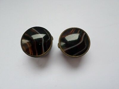 Pair antique late 19th early 20th century H West's agate topped bachelor buttons