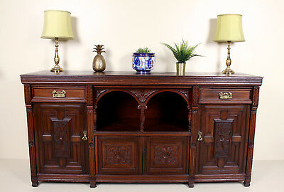 "Antique Victorian Sideboard Carved Mahogany 6'6"" Long Credenza"