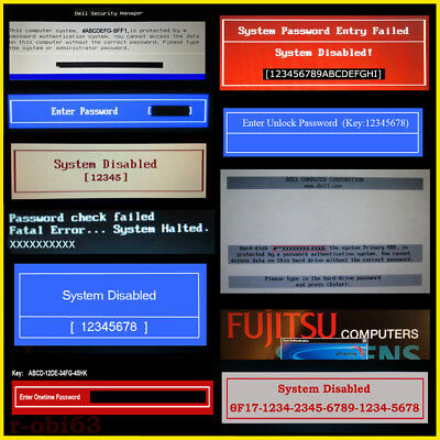Dell, Hp, Acer, Gateway, Fujitsu, Sony Vaio Onetime Bios Password Unlock Service