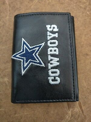Dallas Cowboys Black Leather Tri-Fold Wallet with Embroidered Team Logo 1e432f96a