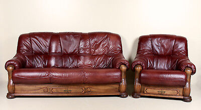 Impressive Leather Sofa Armchair Suite Carved Oak Framed Burgundy Fitted Drawers