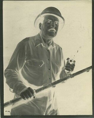 Frank Buck In Pith Helmet With Pistol & Stick. Negative Image On Paper