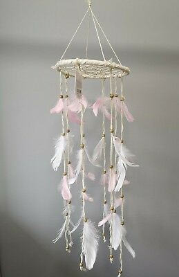 Pink and White Natural Baby Mobile Dream Catcher Boho Feathers Nursery Room UK