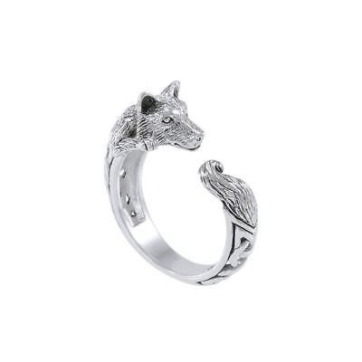 Celtic Wolf Sterling Silver 3D Wrap ring by Peter Stone Fine Jewelry