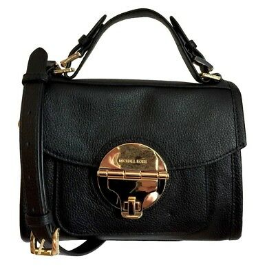 4cba085e414309 NWT MICHAEL KORS Margo Medium Top Handle Satchel Black Leather Flap  Crossbody