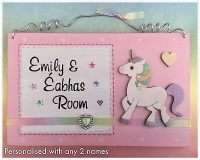 Unicorn Door Name Sign PERSONALISED with any 2 names Plaque Girls Pink Rainbow
