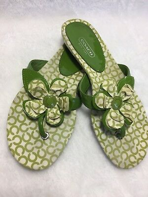 7abcba16d COACH PATTEY FABRIC THONG SANDALS SIZE 6B Green And White OP ART FABRIC