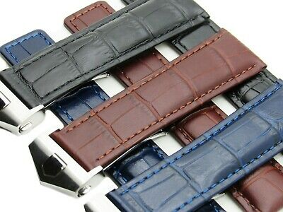 22-24mm Leather Watch Band Strap Deployment Clasp Made For BREITLING Navitimer
