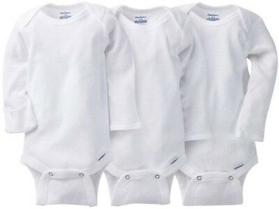 GERBER Baby Boy or Girl Unisex Organic Cotton 3-Pack Long Sleeve Onesies - White