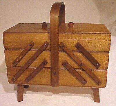 Vintage Bent Wood Handle Expandable Lift Top Wooden Sewing Box