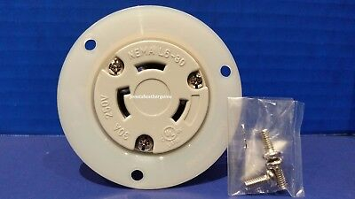 Replacement Flanged Outlet 30 Amp 250 Volt Female Twist Lock 3 Wire Nema L6-30R