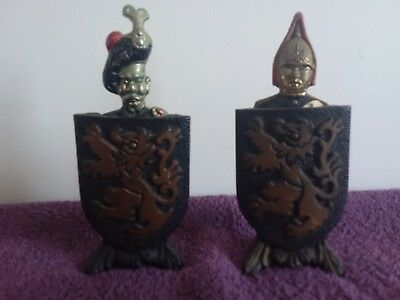 2 Vintage Cold Painted Bronze Bottle Openers With Stands Scottish Guards