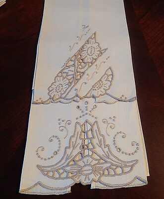 Vintage Set Of 2 Hand Embroidery -Cut Work Ivory Linin Hand Towels Portugal