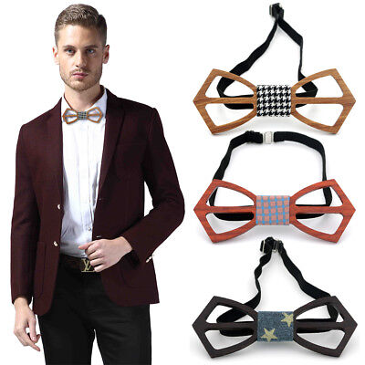 Fashion Men And Women Bow Tie Real Natural Handmade Wooden Bowtie Vintage WoodWQ