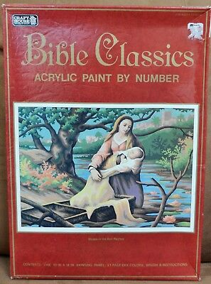 Vintage Craft House Acrylic Paint by Number Moses in the Bull Rushes NIP