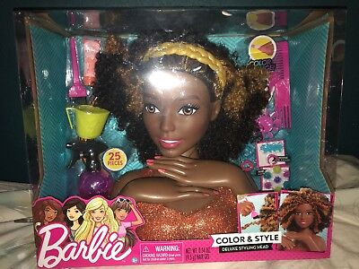 Barbie COLOR /& STYLE DELUXE Styling Head Curly Hair 25 Pieces NEW DAMAGED BOX **