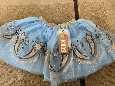 brand new cotton on kids blue tule skirt stars pattern size 3-4 years old
