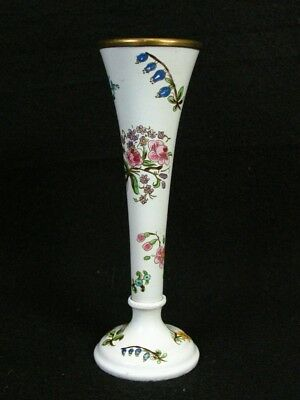 Enchanting Antique Bilston and Battersea Hand Painted Candlestick or Vase 5 3/8""