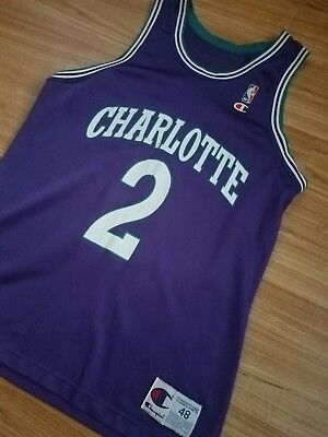 Vtg 90 s Champion Xl Size 48 Larry Johnson Jersey Purple Charlotte Hornets 886157067