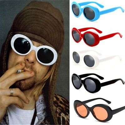 Bold Retro Oval Mod Thick Frame Sunglasses Clout Goggles with Round Lens 51mm WQ