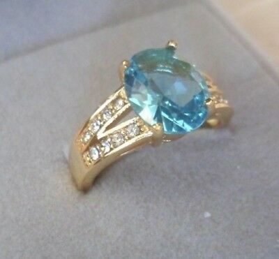 Antique Jewellery Gold Ring Aquamarine and White Sapphires Vintage Dress Jewelry
