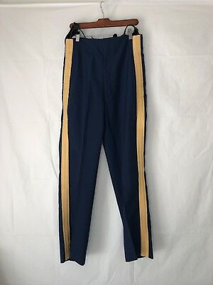 VINTAGE Mens Polyester Dress Pants W/ Suspenders Funky Retro 70s Blue Gold