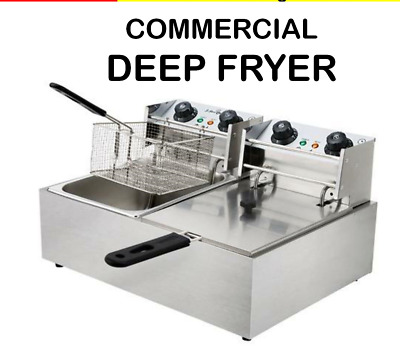 NEW Electric Double Deep Fryer COMMERCIAL Fry Frying Chip Cooker Basket Machine