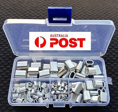 180pcs M1,M2,M3&M4 ALUMINIUM SWAGE FERRULE  STAINLESS WIRE CABLE ROPE CRIMP