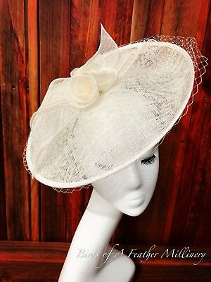 CREAMY WHITE #3 Veil Feather Fascinator Melbourne Cup Wedding Spring Race