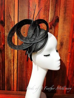 BLACK #19 Fascinator Feather Melbourne Cup Wedding Spring Race Handmde