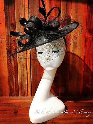 BLACK #30 Feather Veil Bow Fascinator Melbourne Cup Wedding Spring Race Handmde