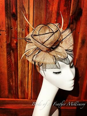 GOLD BROWN #31 Feather Flower Fascinator Melbourne Cup Wedding Spring Race