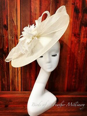 CREAMY WHITE #4 Feather Bow Fascinator Melbourne Cup Wedding Spring Race